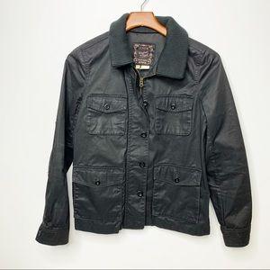 J. CREW Black Washed & Aged Utility Jacket Small